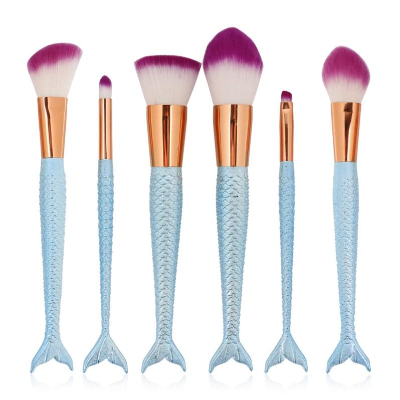 6PCS Fashion Mermaid Makeup Brush Synthetic Hair Power Foundation Cosmetic Brush Tools For Beauty Make Up Kits