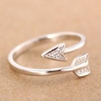 100% 925 Sterling Silver Fashion Cute Arrow Cockatil Rings ...