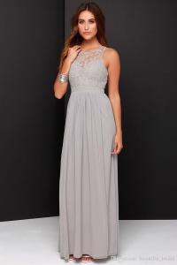 2016 Spring Grey Bridesmaid Dresses Long Chiffon A Line ...