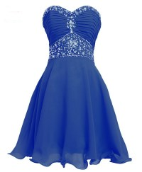 short blue prom dress in stock sweetheart crystal beaded