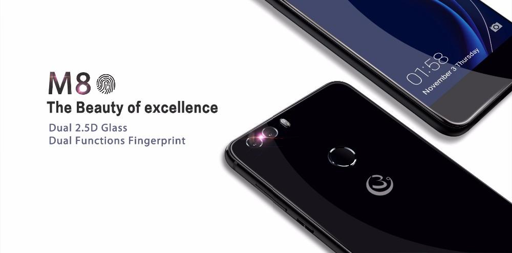 Gooweel M8 טלפון חכם כפול 2.5 D זכוכית 5.5 inch HD IPS MTK6580 quad core טלפון נייד 1GB 8GB+טביעת אצבע ID13.0MP טלפון נייד