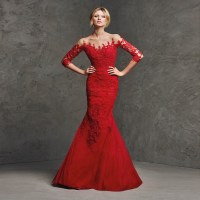 Adorable Red Mermaid Prom Dress 2015 Boat Neck Half