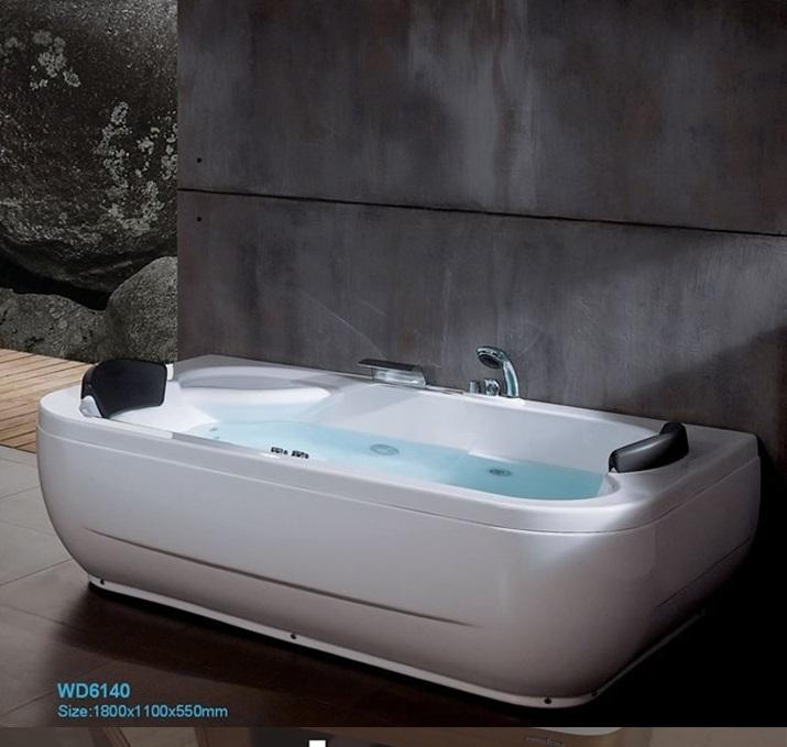 Fiber glass Acrylic Double people whirlpool bathtub Left
