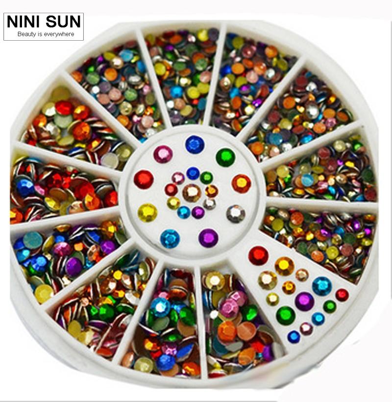2pcs Dazzle Colour Mixed Color 2 Mm3 Mm Nail Decoration With Wheel