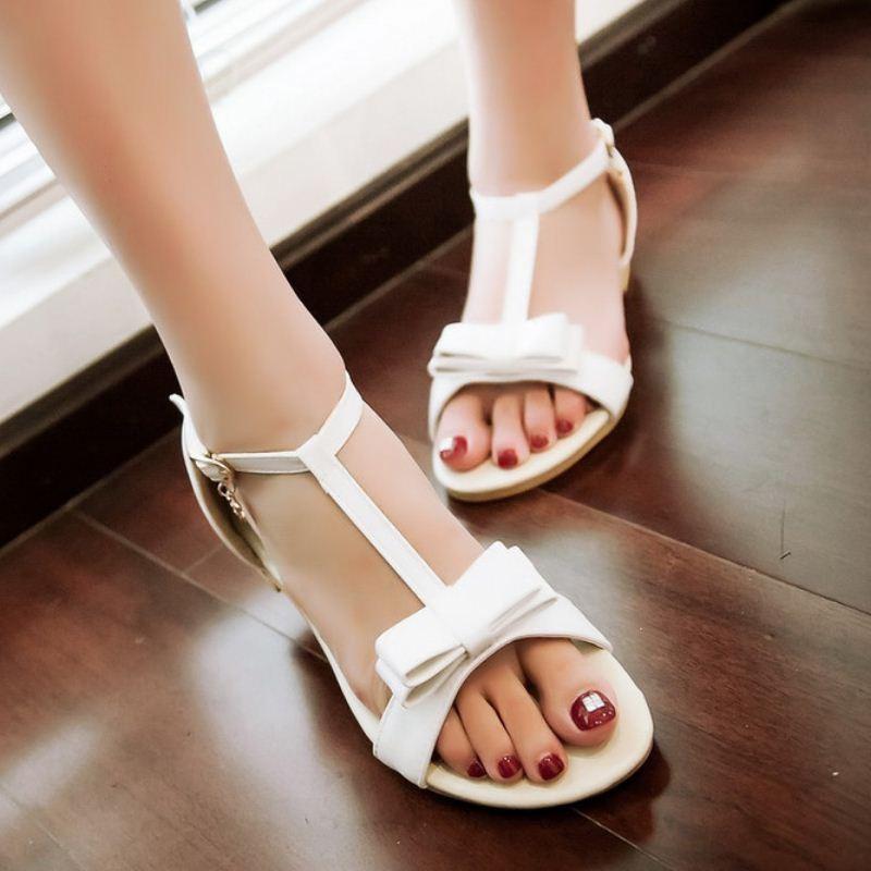 b033bcf8598 여성 플랫 샌들 달콤한 나비 넥타이 학생 플랫 Sandalias 소녀 신발 여성 ...