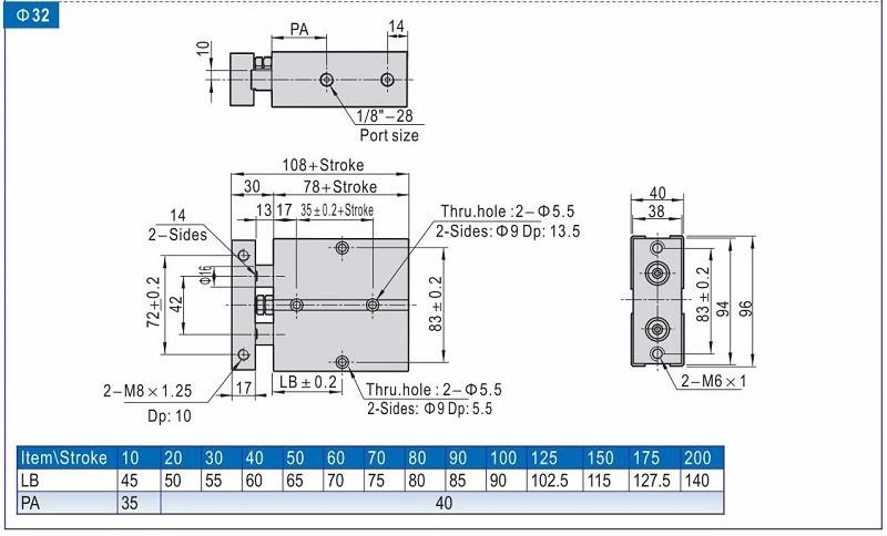 Tn Tda Series Dual Rod Pneumatic Air Cylinder Guide