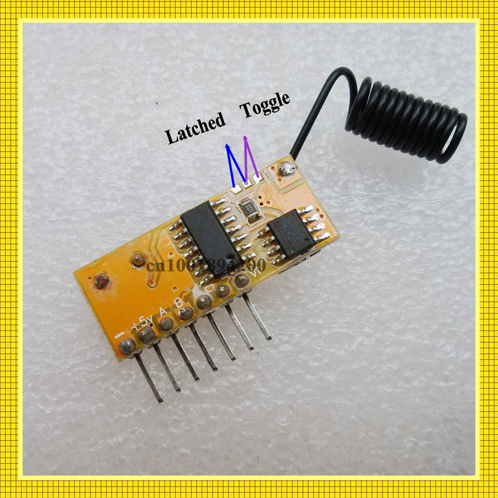 Rf Wireless Receiver Module Dc5v 4ch Mini Super Heterodyne Toggle A Relay This Circuit Will Each Decoder Superheterodyne Fixed Stable Frequency Learning Code Momentary Latche
