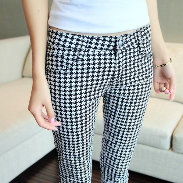Black and White Plaid Pants Women