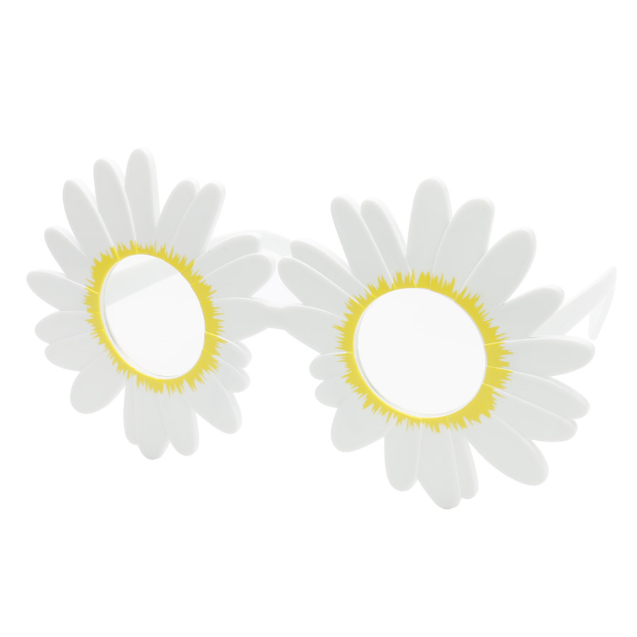 Humorous White Daisy Flower Costume Glasses Girls Marriage Ceremony