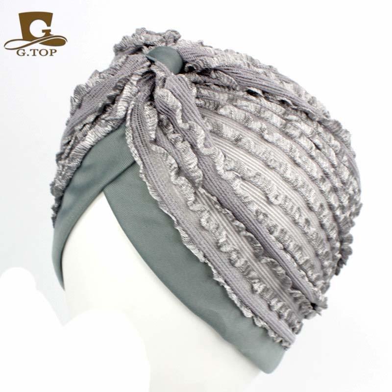 Cheap nuove Donne di Pizzo Elastico Turban Testa Wrap Fascia Chemio Bandana  Hijab Pieghe Cap Indiano Turbante Cappello 1ae34f1709be