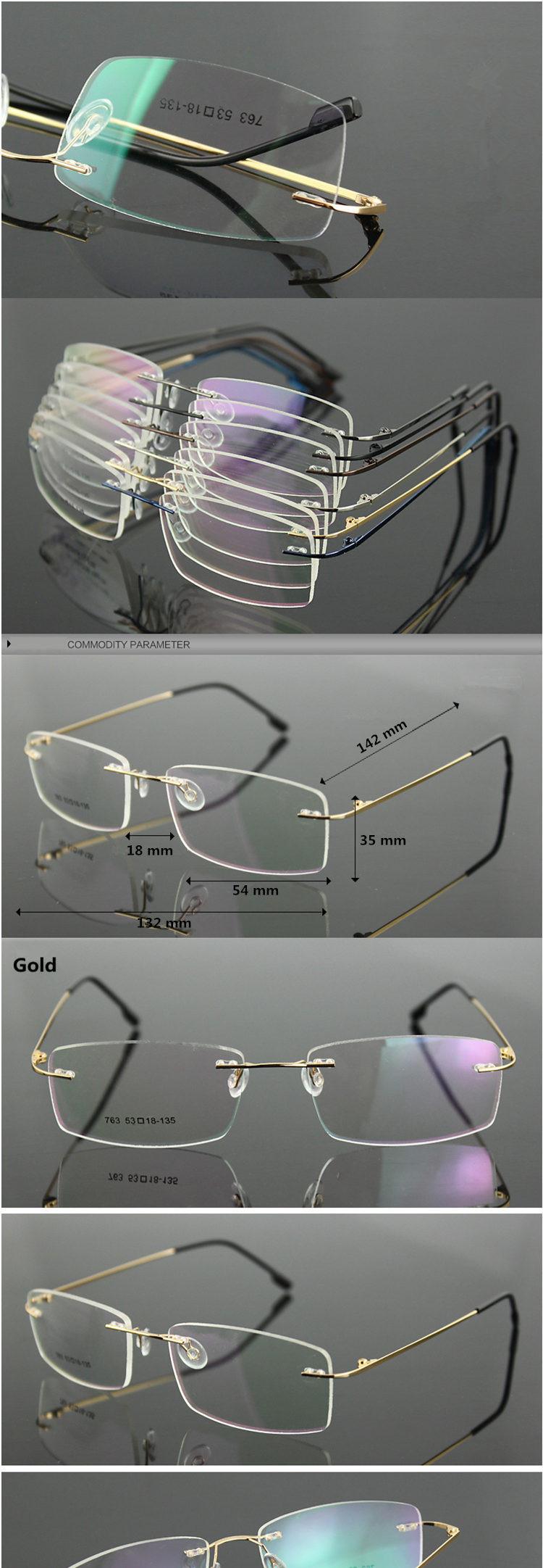 f0a03b79fa8e1 moda Clássico Dos Homens de Negócios de Titânio Puro Armações de Óculos de  Miopia Enquadrar Ultra-leve óculos Meia Armação de Titânio Óptico Frame  BE006-763