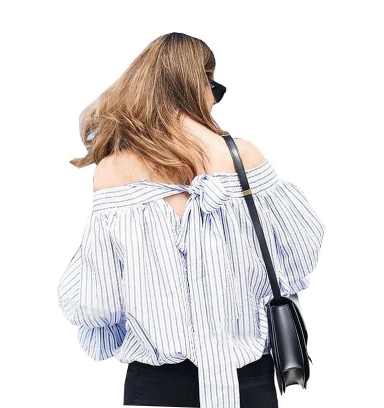 Gacvga 2018 sexy fuera del hombro rayas blusa Tops mujeres bowknot ...