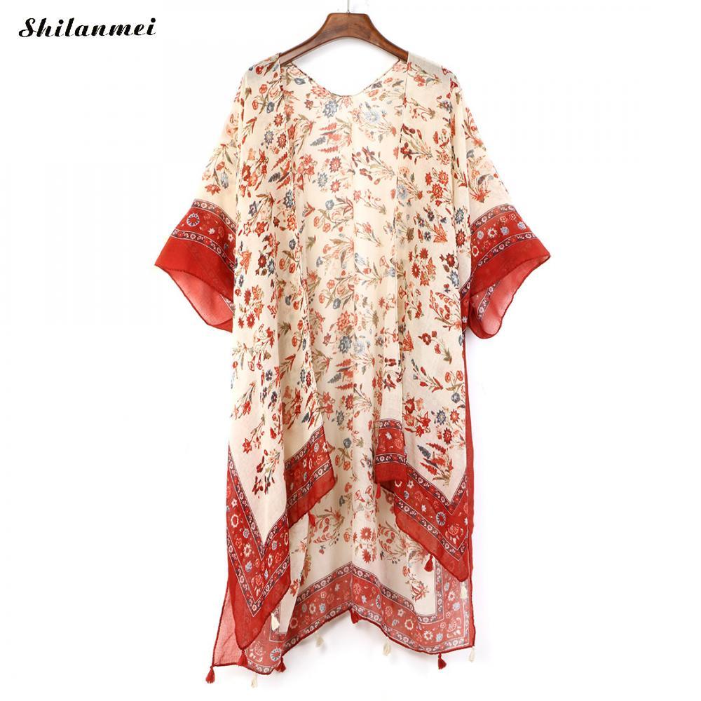 498fd9bd2fbd80 Long Kimono Vintage 2018 Women Print Blouse Long Chiffon Shirt Boho Ladies  Tops Summer Beach Cardigan Bohemian Blusas Haut Femme