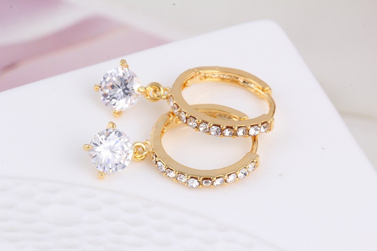 1 Pair Charm Geometric Round Crystal Drop Earrings Gold Silver Plated Zircon Big Circle Loop Pendant Earrings for Women Jewelry (4)