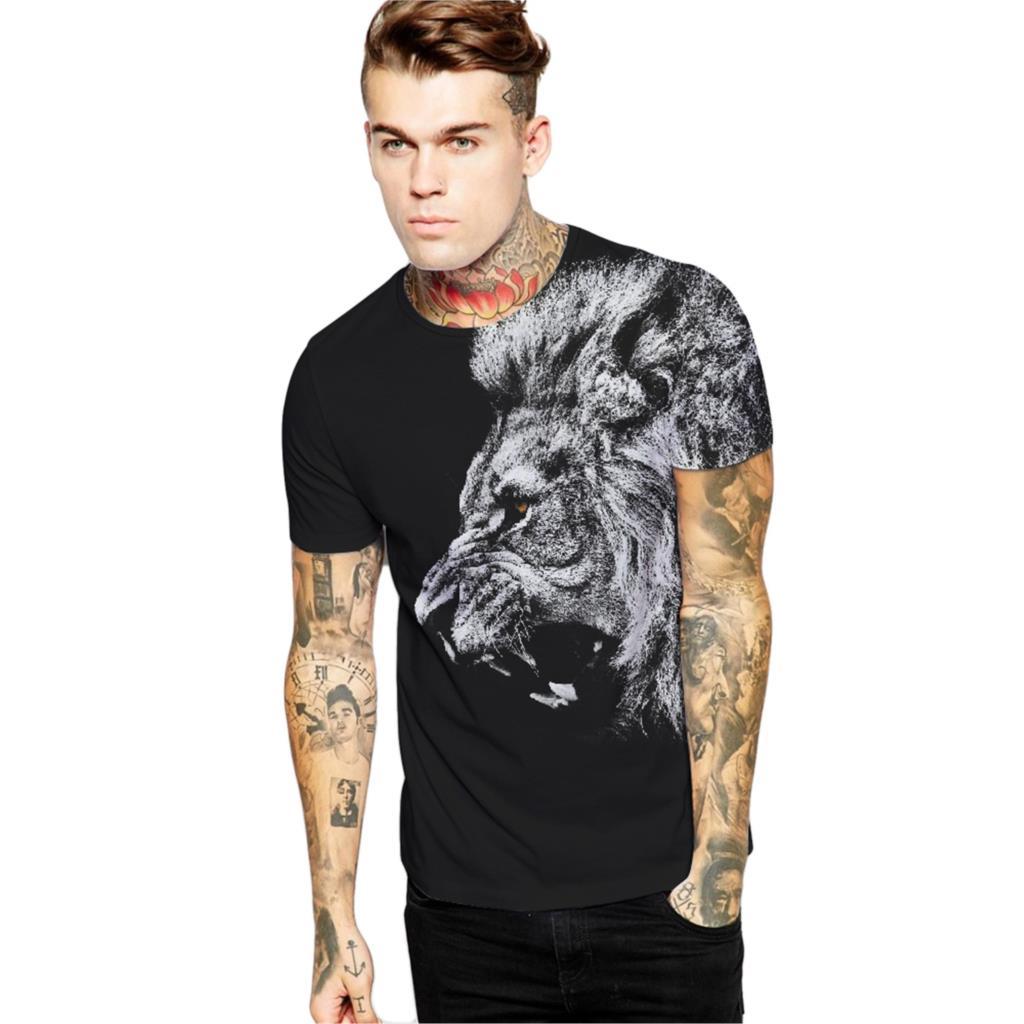 ᗑ Frete Grátis Fresco Lion T-Shirt Camisas Pretas de T Homens Hip ... e80926d6b82e5