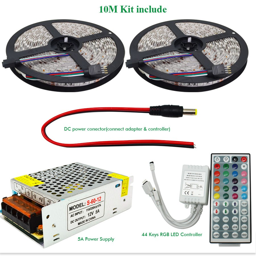 10m 20m Dc12v Led Strip Smd 5050 Rgb Flexible Light Ir 44 Keys 12v 8211 32 V 5a Power Supply By Lm338 Included 4roll 5m Roll Ip65 Ip20 1 Pcs 12v15a 44keys Irrgb Ledcontrollerdont Include Battery Cr2025 Because