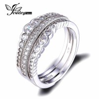 JewelryPalace 0.7ct Cubic Zirconia 3 Pcs Stackable Wedding ...