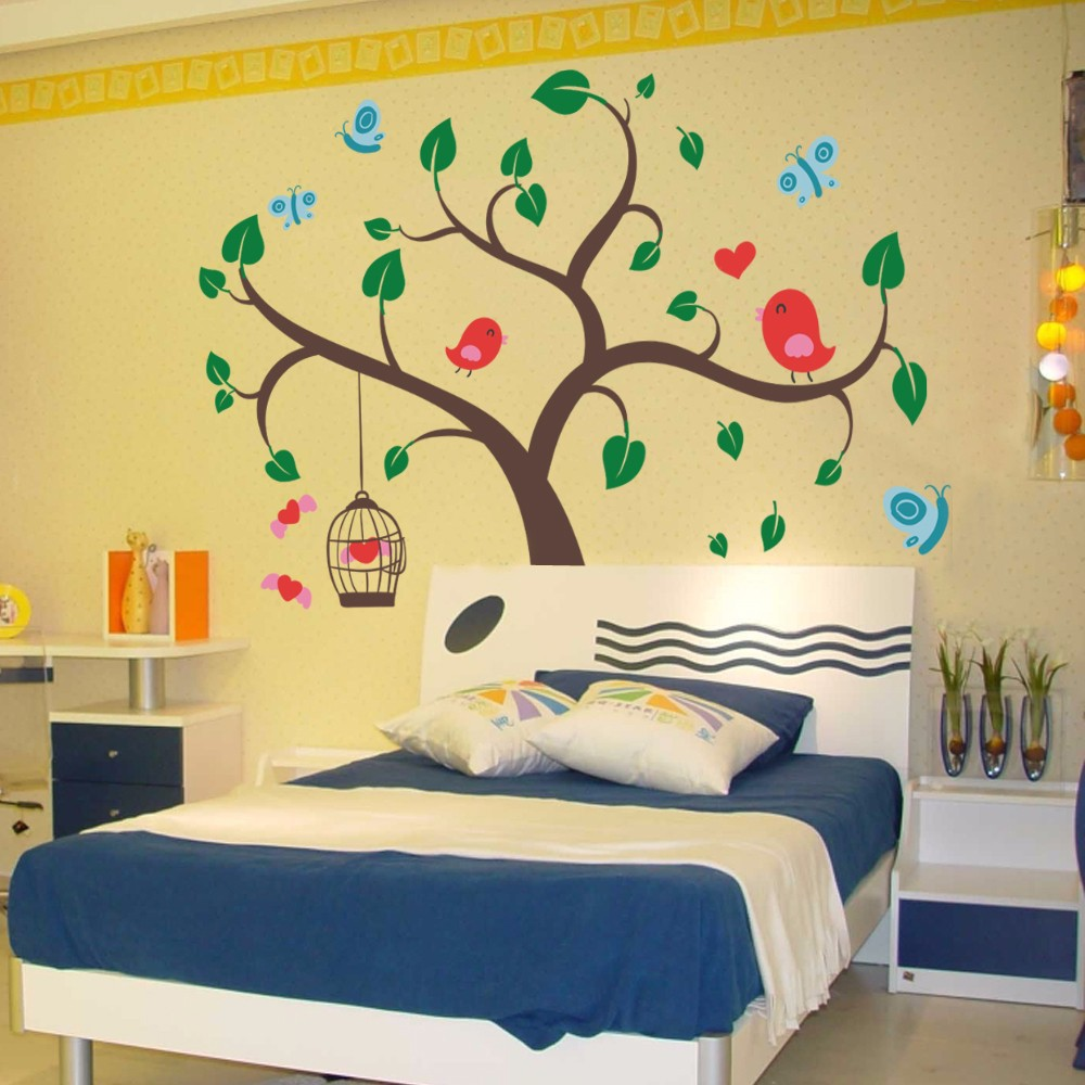 ᐃChildren Wall Decals Tree Wall Decals and Butterfly Birds Wall ...