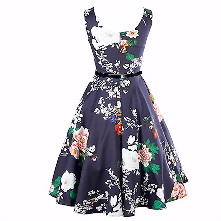 ̀ •́ Navy verano Rosa floral vestido mujeres vintage Bateau ...