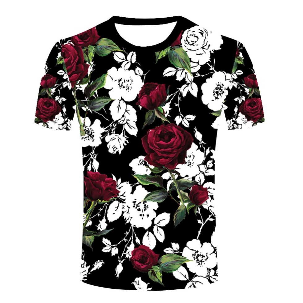 Top Clothes New Graffiti Hip hop Casual Tshirts Men Rose ...