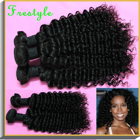 free shipping wholesale virgin remy indian deep wave spiral kinky curly hair weave 1b natural