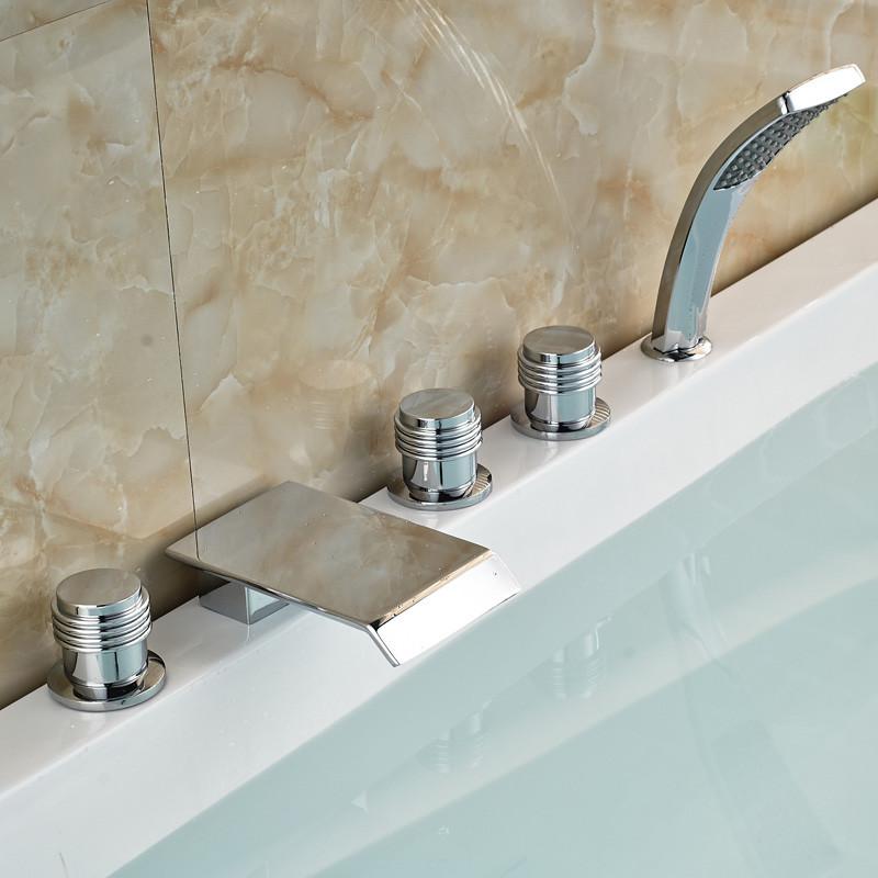 ᐂDeck Mount Luxury 5pcs Bathtub Tub Mixer Taps Bathroom Widespread ...