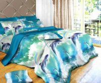 dolphin oil painting bedding sets sheet,4pc bedding set ...