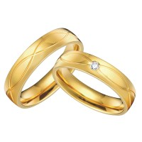 1 pair 18k gold plated custom alliance titanium wedding ...