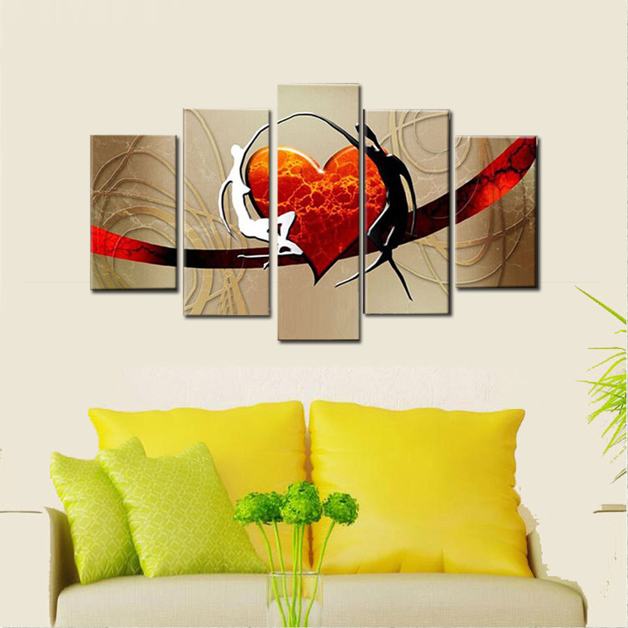 ✓Hand Painted Abstract Modern Oil Painting On Canvas Husband And ...