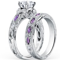 Fashion hot design silver purple cubic zirconia wedding