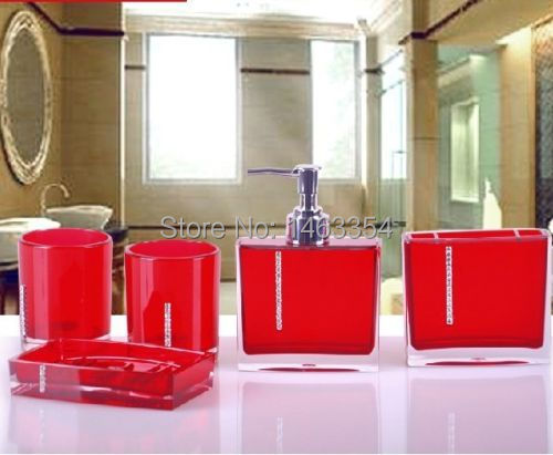 HOTFashion 5pcs Bathroom Accessories Sets Wedding Business Gift in nice 4 colorin Bathroom
