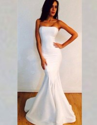 Simple White Sexy Mermaid Evening Prom Dress 2016 ...