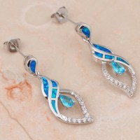 Elegant Blue Opal Drop Earrings