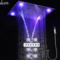 LED Shower Set Luxury Faucet Ceiling Mounted Rain Waterfall Shower Head Set Massage Shower Body Jet