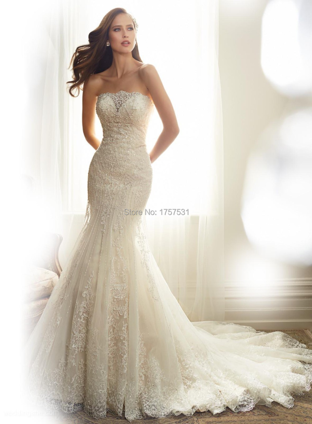 Charming 2015 WhiteIvory Elegant Mermaid Wedding Dress With Strapless Sleeveless Beading Lace