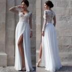 White Long Sleeve Lace Wedding Dress