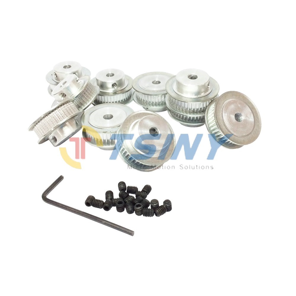 Aluminium Wheel Gt2 Timing Belt Pulley 40 Teeth Bore 5mm Tooth 10mm 6mm Width 7mm Double Flange 10pcs Lot