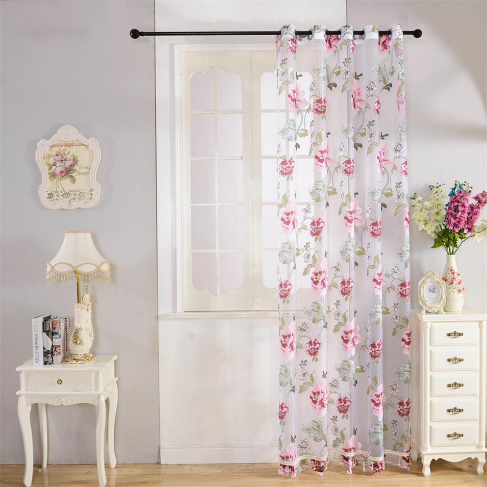 _ Floral Tule Cortinas Para Sala De Estar Quarto Cortinas Da