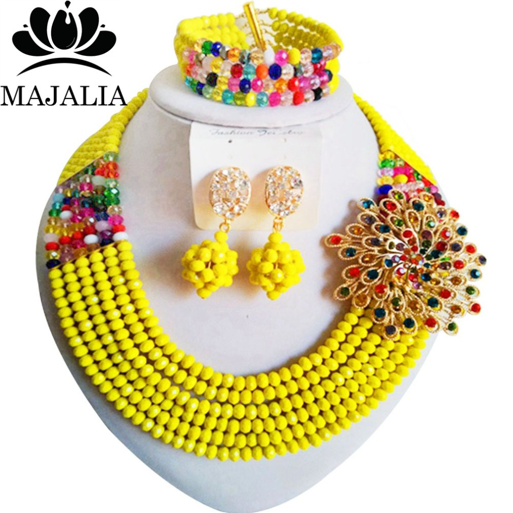 fe05fa589cfa Boda africana de la manera rebordea amarillo nigeriano boda Africana  cuentas de joyería conjunto cristal envío shippingMO-010