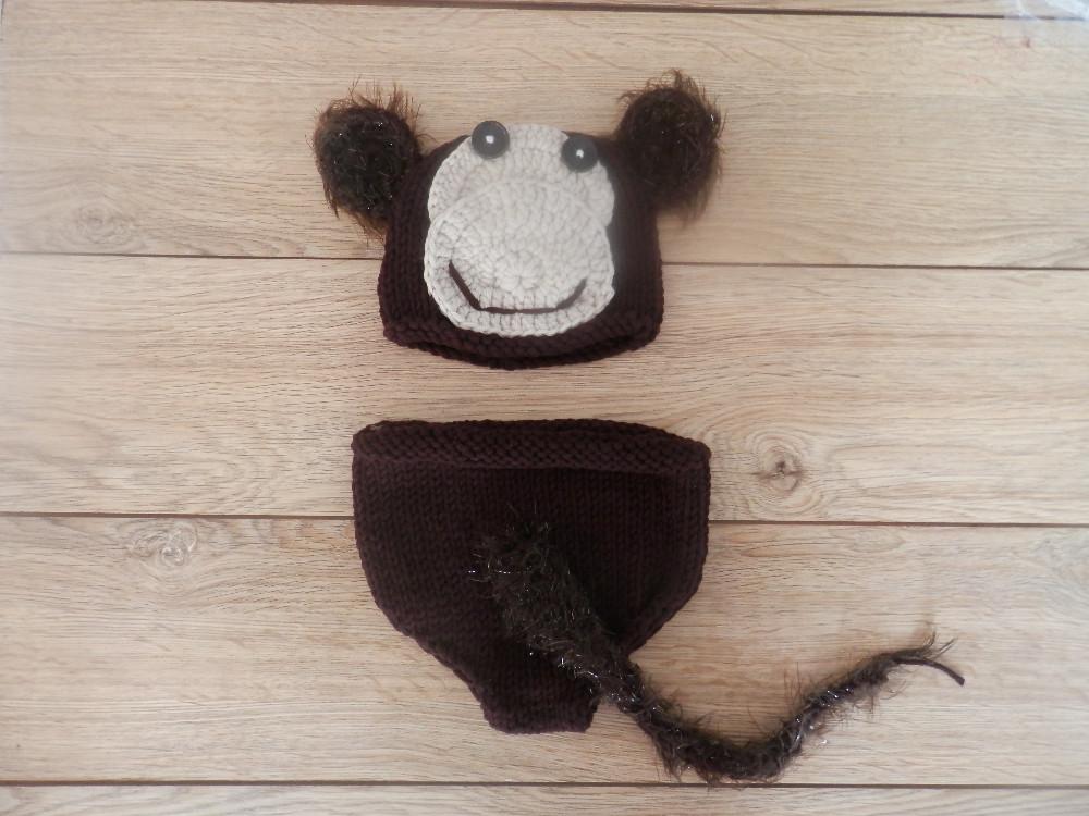 ≧El envío libre, ganchillo sombrero del mono del bebé cubierta del ...