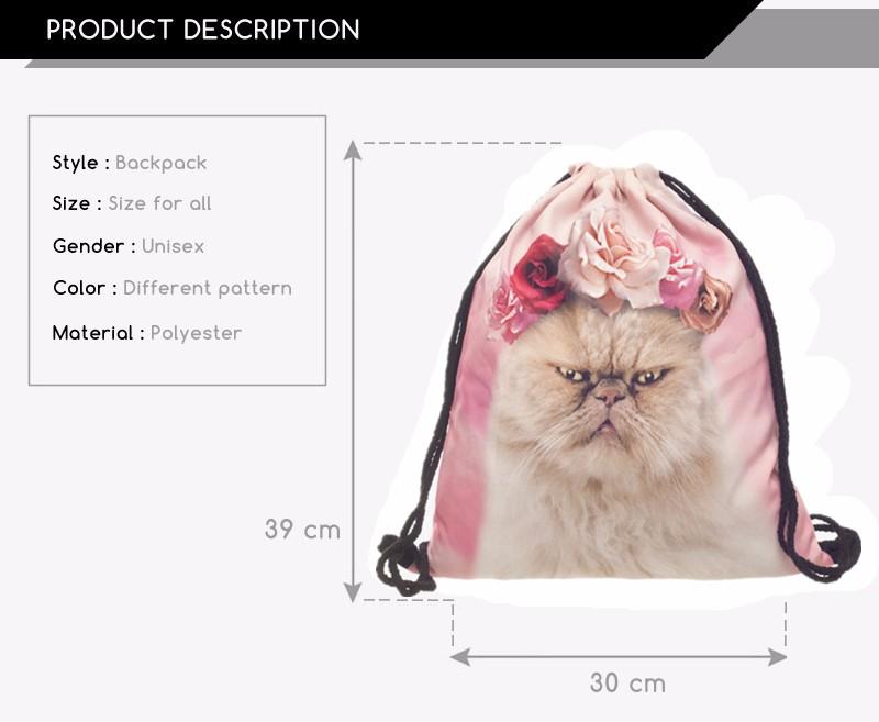 fa402b0e93 ₪Who cares new fashion mochila feminina zaino donne 3d rosea gatto ...