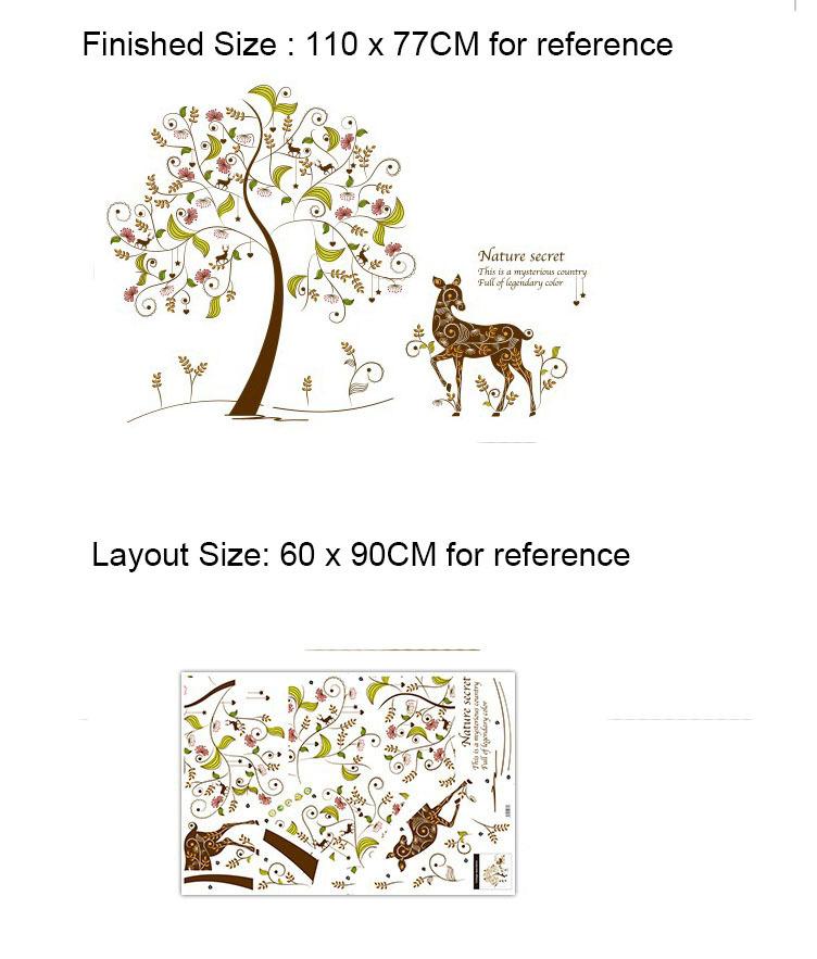 Click here!! Coloré Secret Arbre Mur Art Mural Décor Girafe sous l fe15c162c64