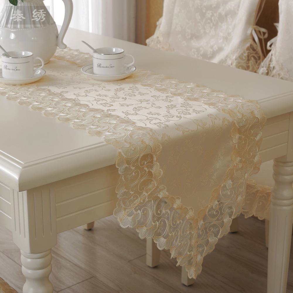 sofa table runners bed faux leather cup holder 3 seater s&v high grade lace runner cream colored cloth ...