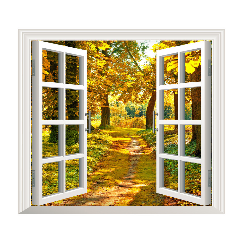 3D Window Forest Bamboo Birch Tree View Wall Stickers New Arrival ...