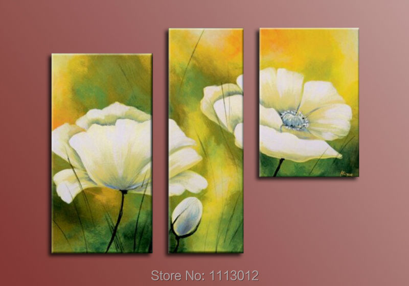 ᐅLage Hand Painted Abstract Home Decoration Flower Oil Painting On ...