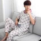 Men Short Sleeve Cotton Pajama Set