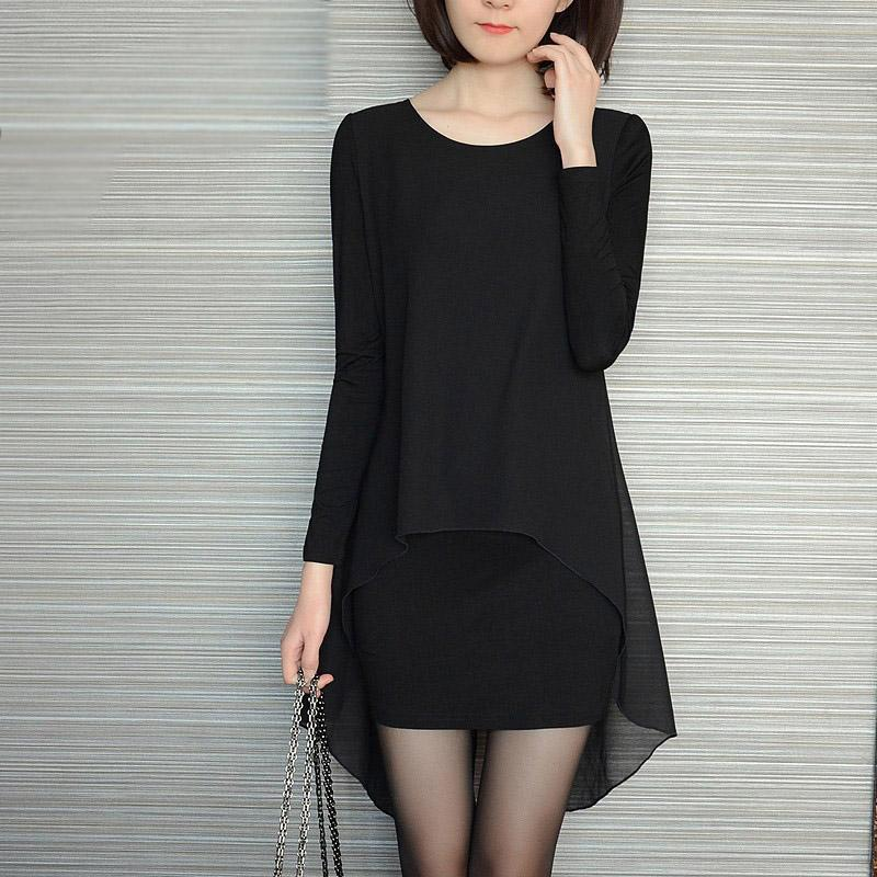 S-5XL Plus Size Women Clothing Black Women Dress Sexy Club Long Sleeve  Tshirt Chiffon Dress Loose Bodycon Autumn Dresses 794c3a8cfdc1