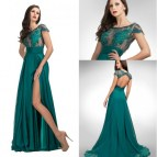 Fashion Sheer Evening Formal Dresses Lace Top Jewel
