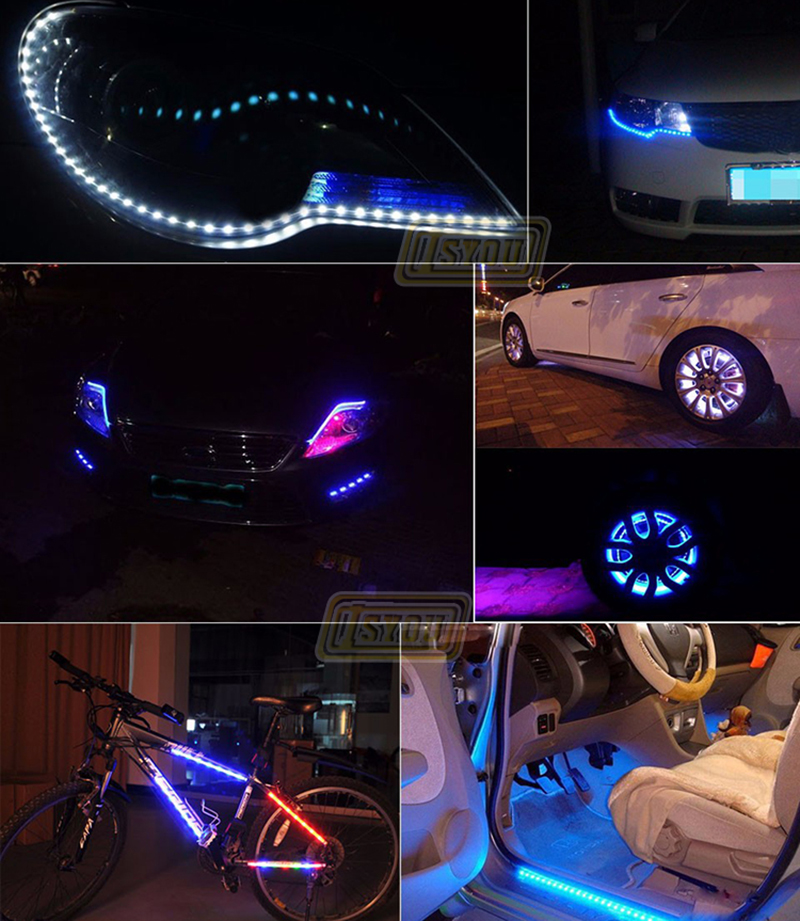Automobiles & Motorcycles 30cm Strip Light Car Flexible Led Strip Light 15smd Waterproof Led Daytime Running Light Decorative Car Drl High Power 12v