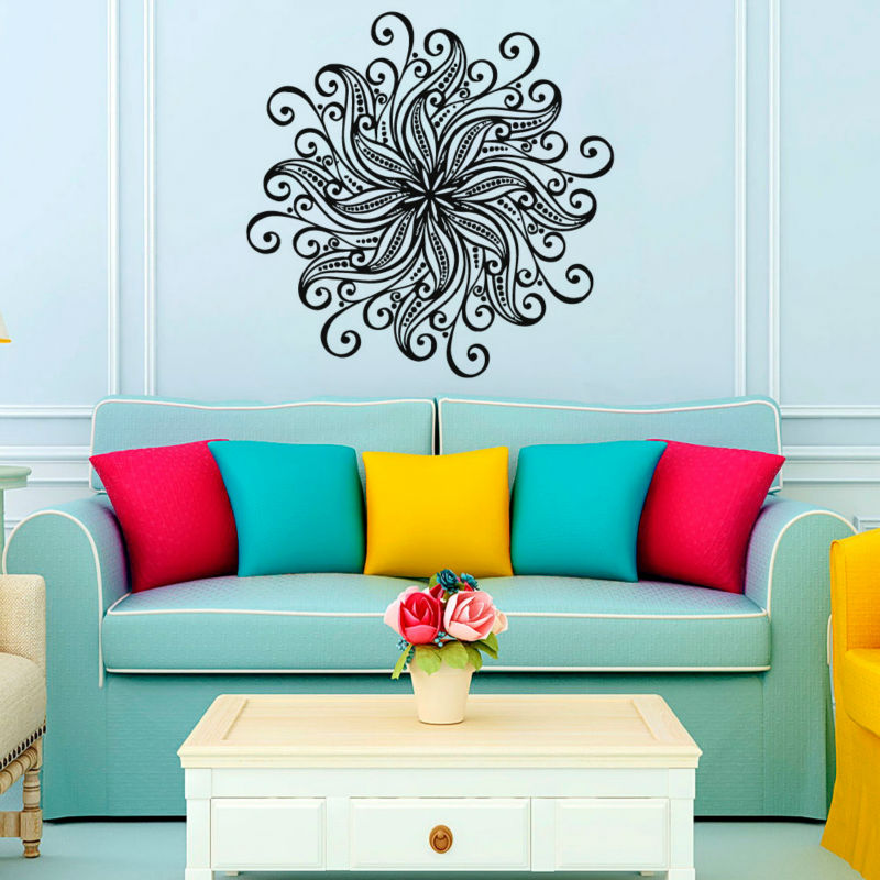 large wall stickers for living room india navy blue and tan flower art vinyl self adhesive home decor indian mandala murals olivia your